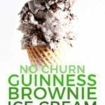 Close up of a cone of No Churn Guinness Brownie Ice Cream, with Pinterest text