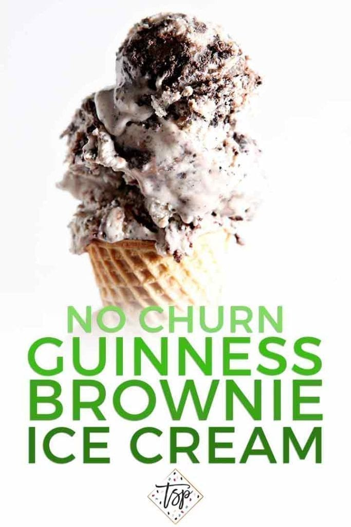 Whether you're celebrating St. Patrick's Day, a birthday or any day you'd like a sweet treat, this rich No Churn Guinness Brownie Ice Cream is sure to become a new favorite! | No Churn Ice Cream | Beer Brownie Ice Cream | St. Patrick's Day Dessert | St. Patrick's Day Recipe | St. Patrick's Day Ice Cream | #stpatricksday #guinness #icecream #speckledpalate