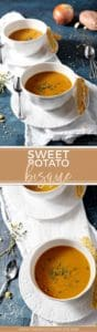 Pinterest collage for Sweet Potato Bisque
