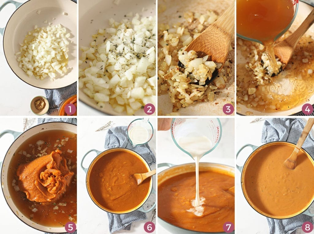 Collage of eight images showing the process of making Sweet Potato Bisque