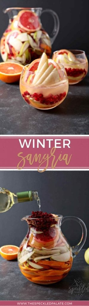 Full of pink grapefruit, cara cara or blood oranges, pears and pomegranates, Winter Sangria is bursting with flavor. | Winter Sangria | Winter Citrus Sangria | Grapefruit Sangria | Orange Sangria | Pear Sangria | Pomegranate Sangria | Easy Homemade Sangria