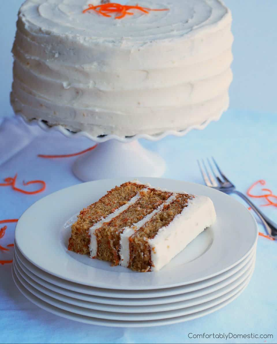 Carrot Cake with Gingered Cream Cheese Frosting from Comfortably Domestic