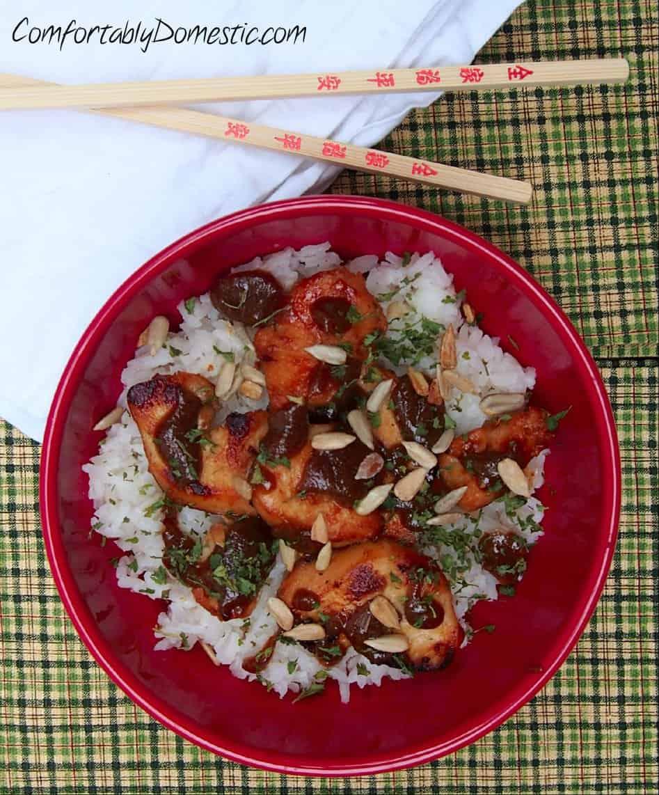 Nut Free Chicken Satay with Coconut Rice from Comfortably Domestic in a red bowl with chopsticks