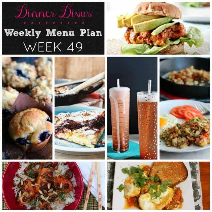 Collage of the seven recipes featured in Dinner Divas Weekly Meal Plan 49