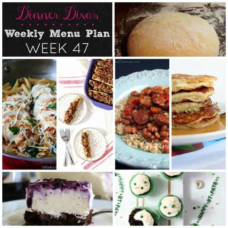 Square collage, highlighting the seven recipes shared during this week's Dinner Divas weekly meal plan