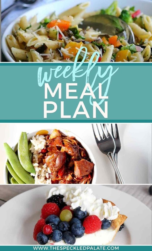 Dinner Divas Weekly Meal Plan 46 Pinterest collage, featuring images of pasta, a chicken rice bowl and a slice of pie