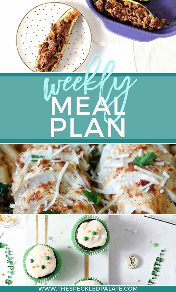 Pinterest collage featuring three dishes from this week's weekly meal plan
