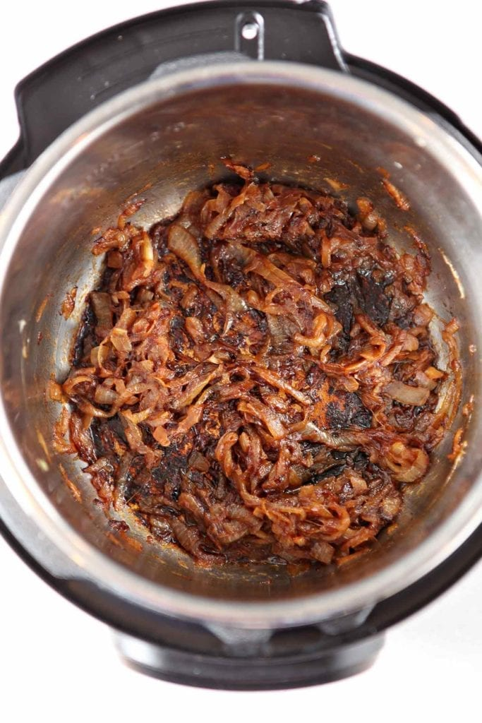 Caramelized Onions in the Instant Pot, ready to be added to the meatloaf