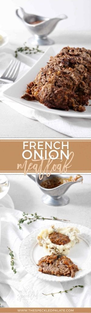 Pinterest collage featuring two images of cooked, ready-to-eat French Onion Meatloaf