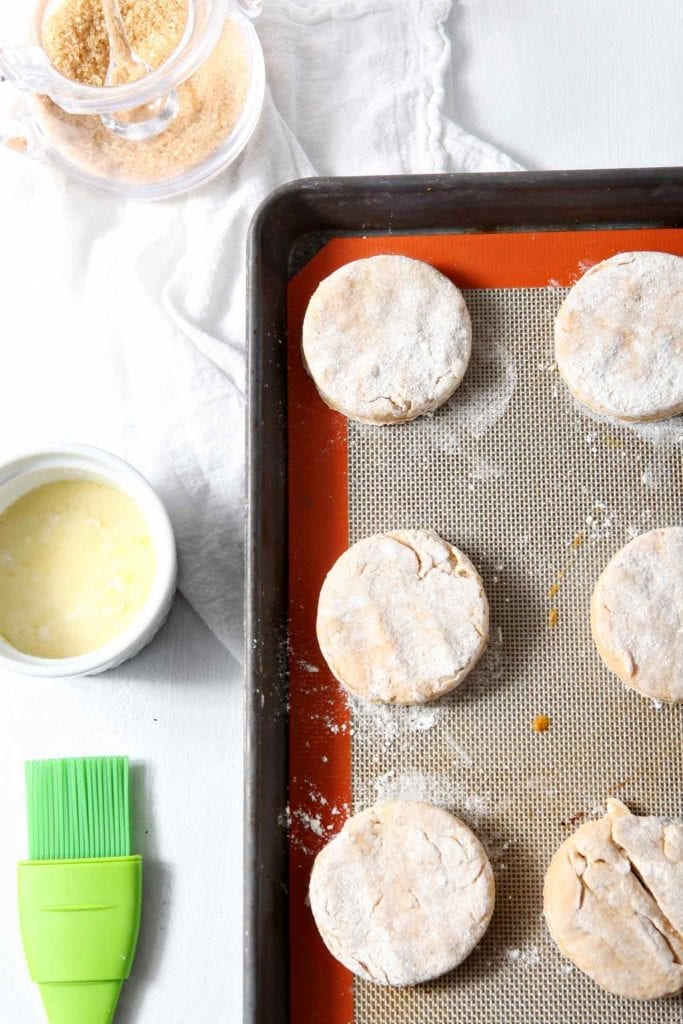 Irish Cream Biscuits on a baking sheet before baking on a white background