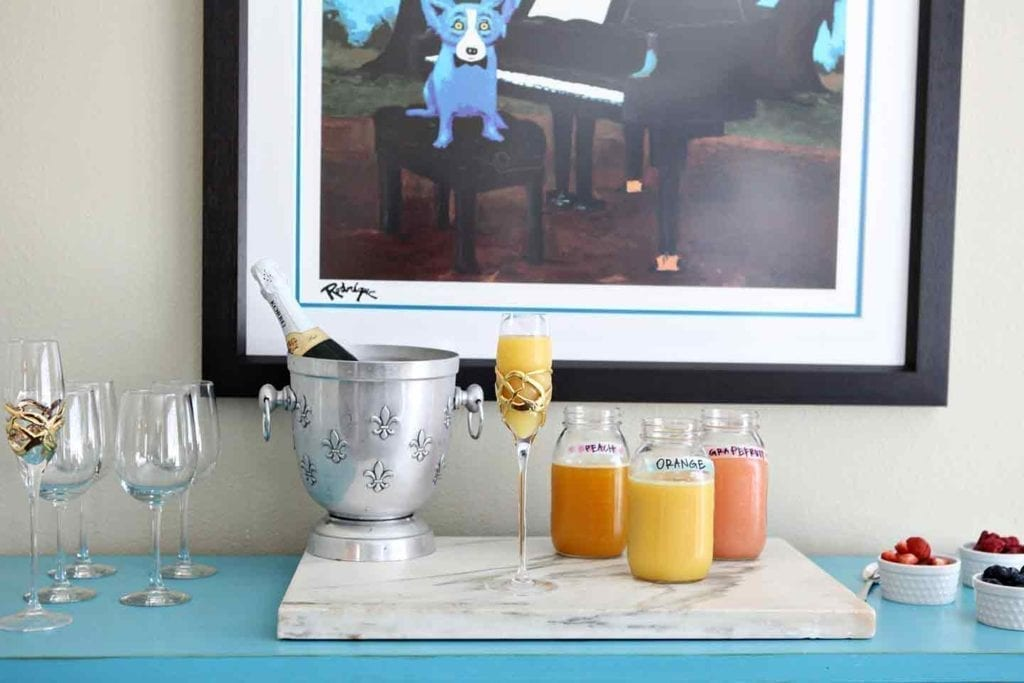 Horizontal image of a mimosa bar before drinks are served!