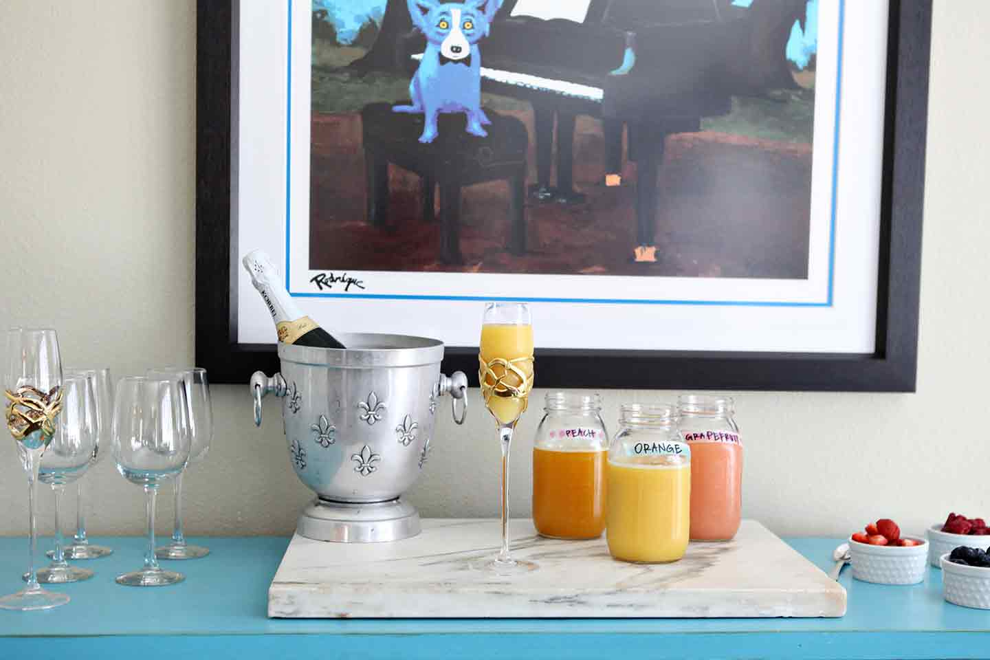 Horizontal image of the full mimosa bar before drinks are served up!