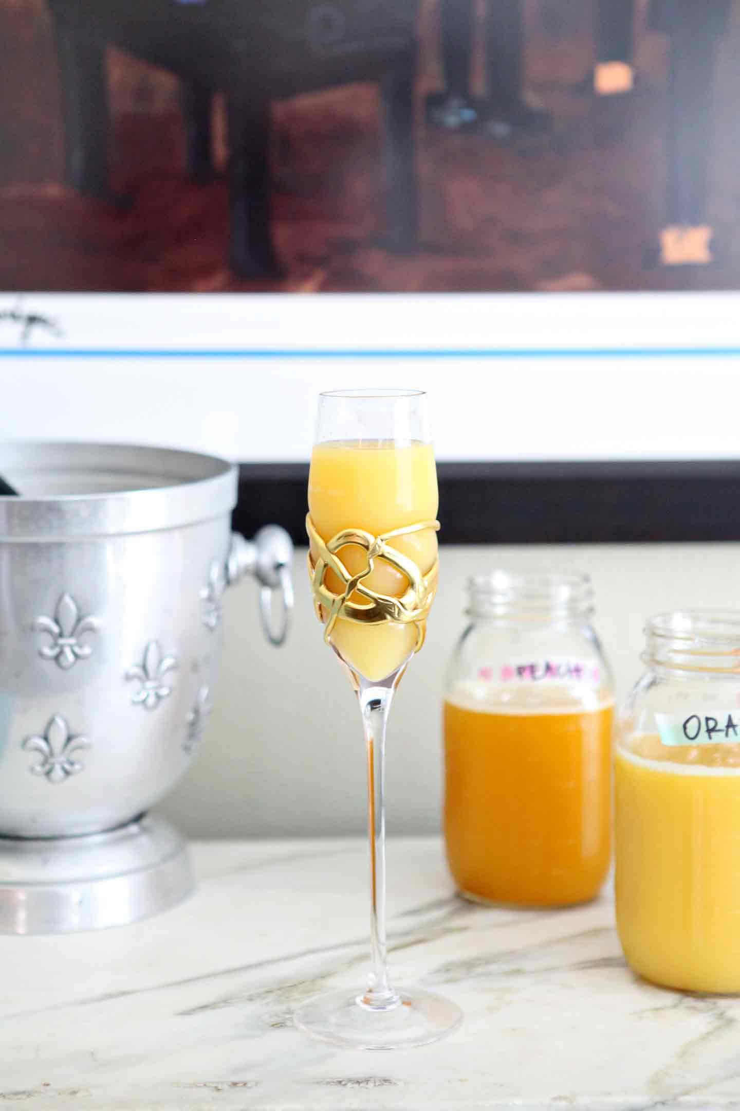 Image of a traditional mimosa (bellini) sitting on the mimosa bar before drinking