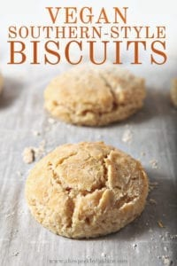Vegan biscuits line a baking sheet after baking, with Pinterest text