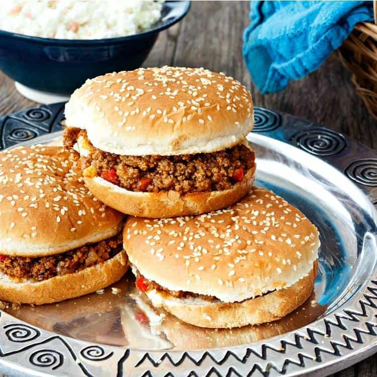 Easy Sloppy Joes from Pastry Chef Online on a silver platter