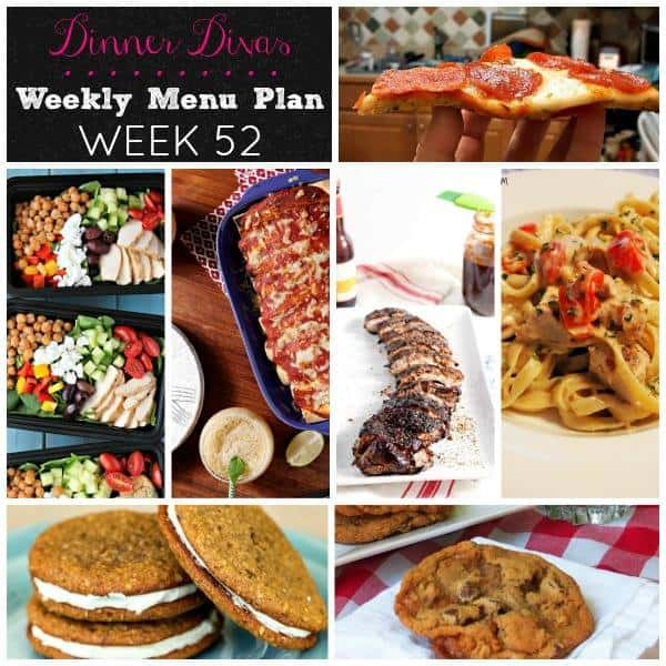 Square collage, featuring five dinner ideas, for the Dinner Divas Weekly Meal Plan 52