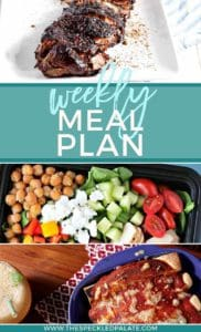 Pinterest collage, featuring three dinner ideas, for the Dinner Divas Weekly Meal Plan 52
