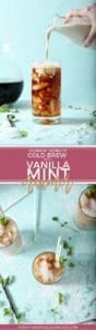 Pinterest collage of two images for Dunkin' Donuts Cold Brew with Homemade Vanilla Mint Creamer
