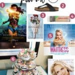 Pinterest collage for The Potluck: March 2018, featuring a movie, two books, a musical and more