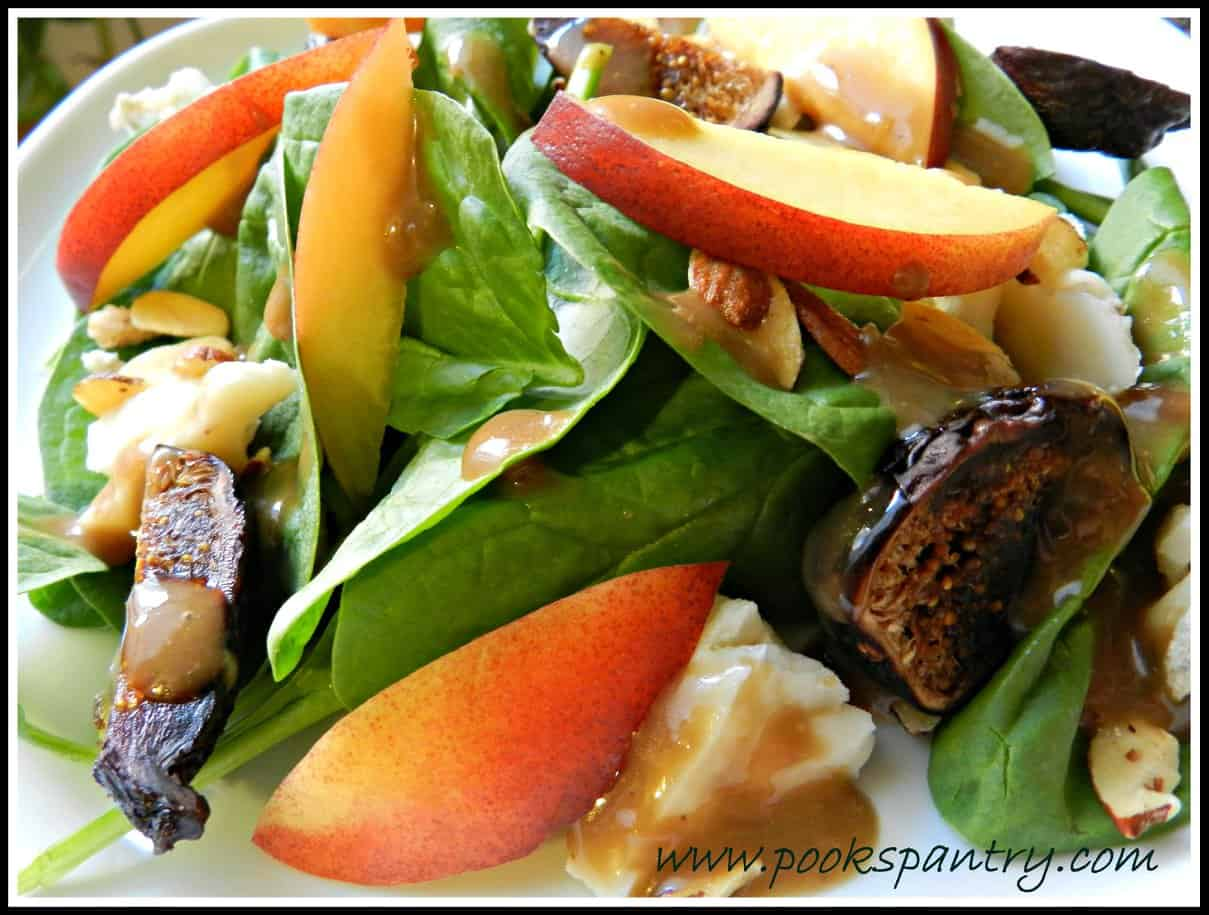 A close up of Spinach, Nectarine and Blue Cheese Salad from Pook's Pantry