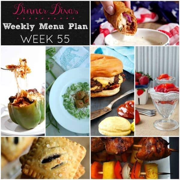 Square collage for Dinner Divas Weekly Meal Plan 55, featuring images of the seven recipes included in the meal plan