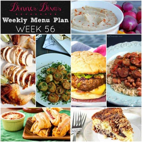 Dinner Divas Weekly Meal Plan 56 square collage, featuring five meal images and two extras