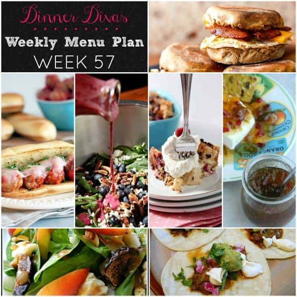 Square collage of Dinner Divas Weekly Meal Plan 57, featuring all the recipes shared