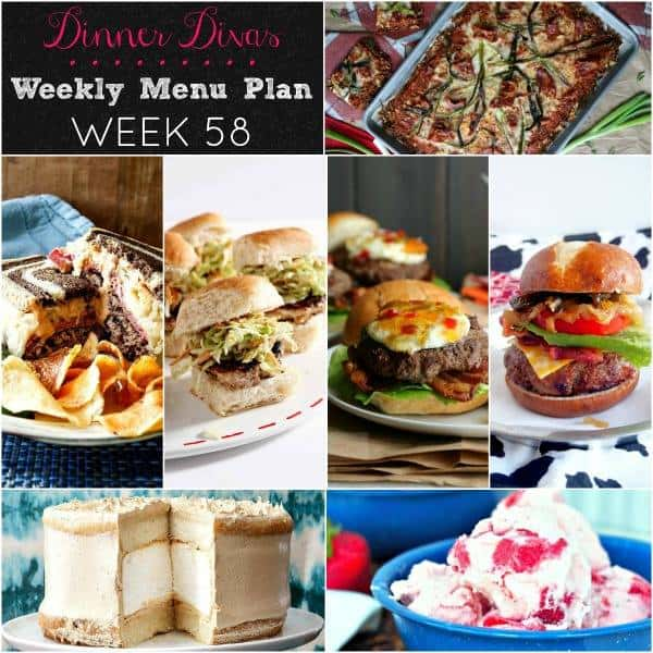 Square collage for Dinner Divas Weekly Meal Plan 58, featuring all 7 recipes.