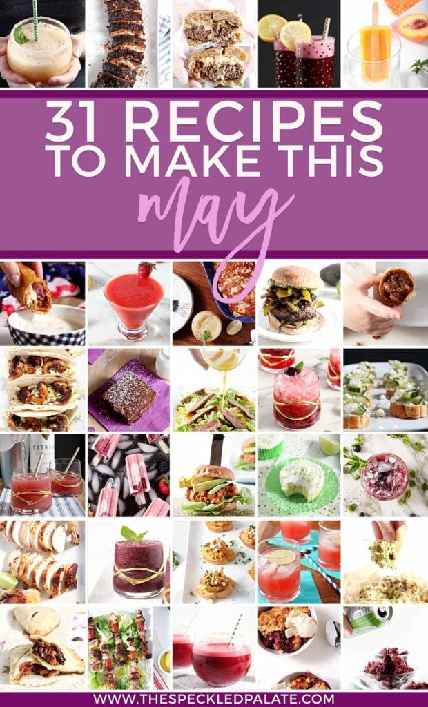 Pinterest collage for Monthly Meal Plan, featuring square images of 30 different recipes for Memorial Day, Cinco de Mayo and the Kentucky Derby