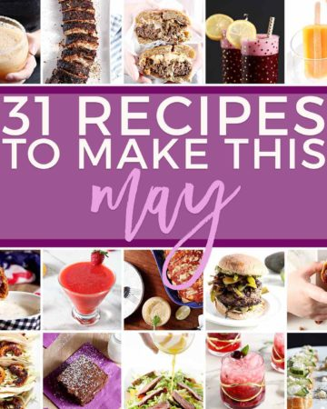 Square collage for Monthly Meal Plan, featuring square images of 30 different recipes for Memorial Day, Cinco de Mayo and the Kentucky Derby
