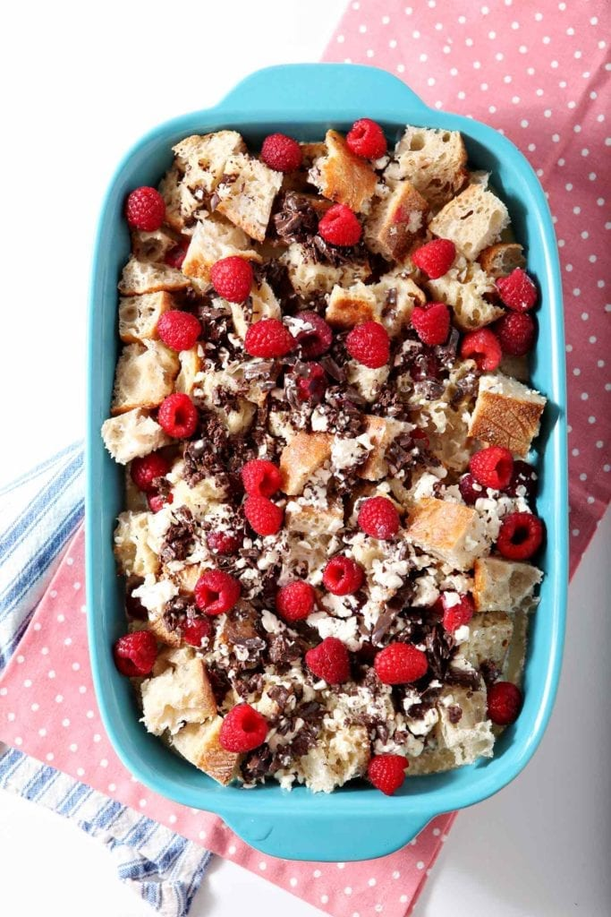 Chocolate Raspberry French Toast Casserole after mixing