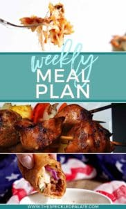Pinterest graphic for Dinner Divas Weekly Meal Plan 55, including three images of the recipes included in the week's round-up