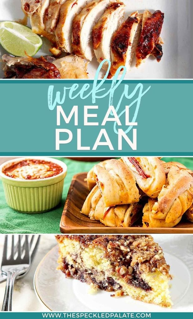 Dinner Divas Weekly Meal Plan 56 Pinterest collage, featuring three images