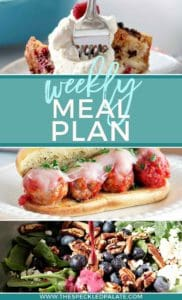 Pinterest collage for Dinner Divas Weekly Meal Plan 57, featuring three of the seven recipes shared.