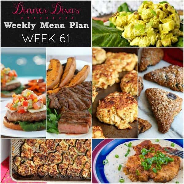 Square collage, featuring all seven recipes of the Dinner Divas Weekly Meal Plan 61