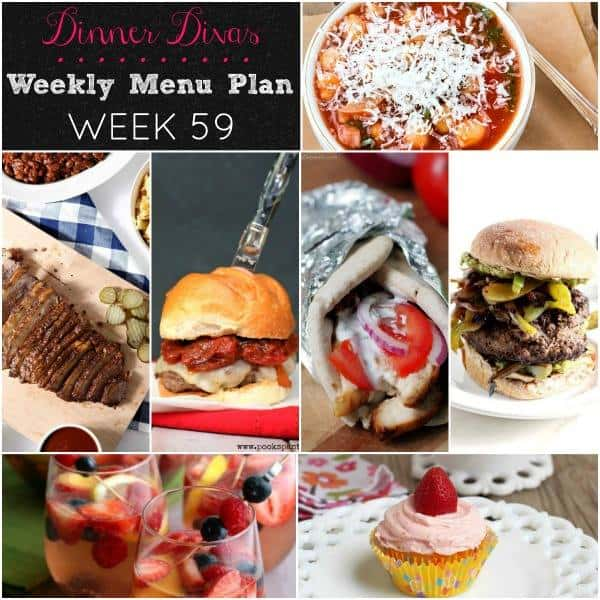 Square collage, featuring 7 recipes from Dinner Divas Weekly Meal Plan 59