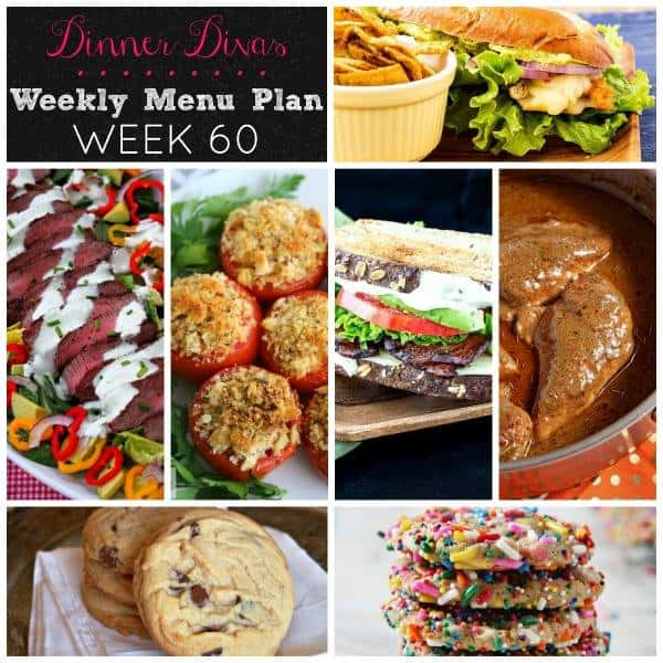 Square collage, featuring all seven recipes of the Dinner Divas Weekly Meal Plan 60