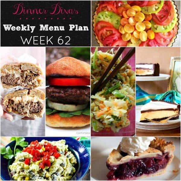 Collage of the seven recipes featured in the Dinner Divas Weekly Meal Plan 62