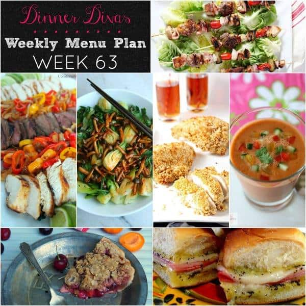 Square collage for Dinner Divas Weekly Meal Plan 63, featuring all seven recipes