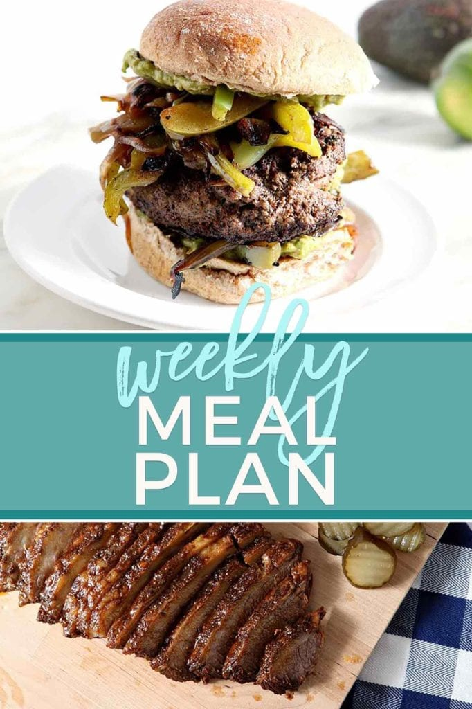 Pinterest collage for Dinner Divas Weekly Meal Plan 59, featuring two images