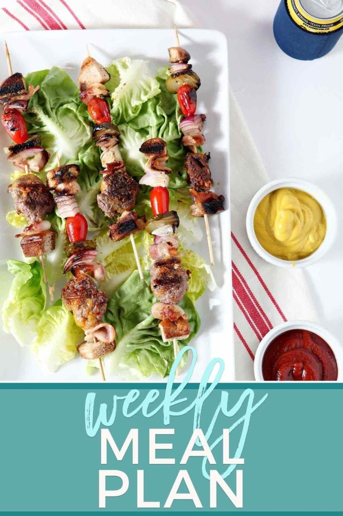 Pinterest graphic for Dinner Divas Weekly Meal Plan 63, featuring an overhead image of Cheeseburger Kebabs on lettuce on a white platter