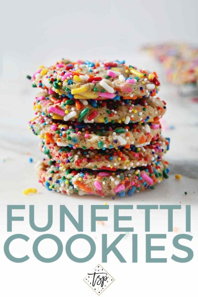 A stack of Funfetti Cookies sits on a marble background. Pinterest graphic with text.