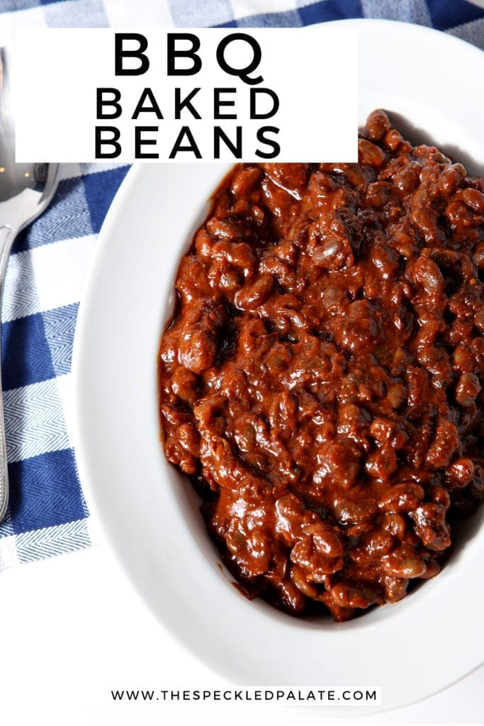 Overhead of Instant Pot Vegetarian Baked Beans in a bowl, with Pinterest text