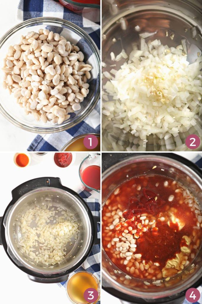 Collage showing how to make Instant Pot BBQ Baked Beans