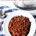 Side angle of Vegetarian Baked Beans, with Pinterest text