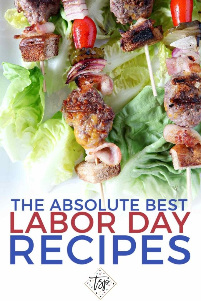 Cheeseburger kebabs sit on a bed of lettuce with Pinterest graphic text