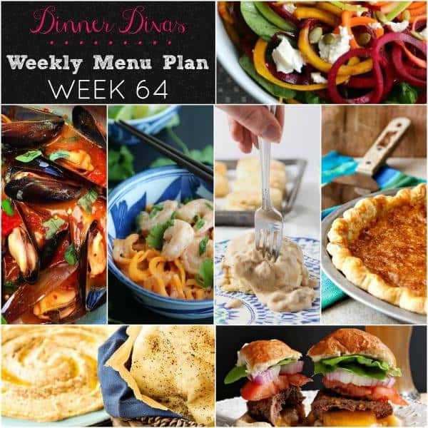 Square collage for Dinner Divas Weekly Meal Plan 64, featuring all seven recipes highlighted