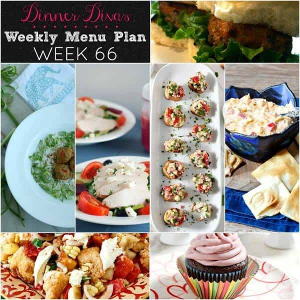 Square collage for Dinner Divas Weekly Meal Plan 66, featuring all 7 recipes