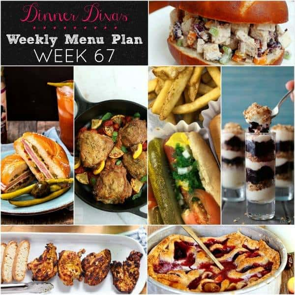 Square collage for Dinner Divas Weekly Meal Plan 67, featuring all seven recipes
