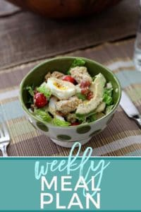 Pinterest graphic for Dinner Divas Weekly Meal Plan 65, featuring text and a bowl of Panko Chicken Cobb Salad